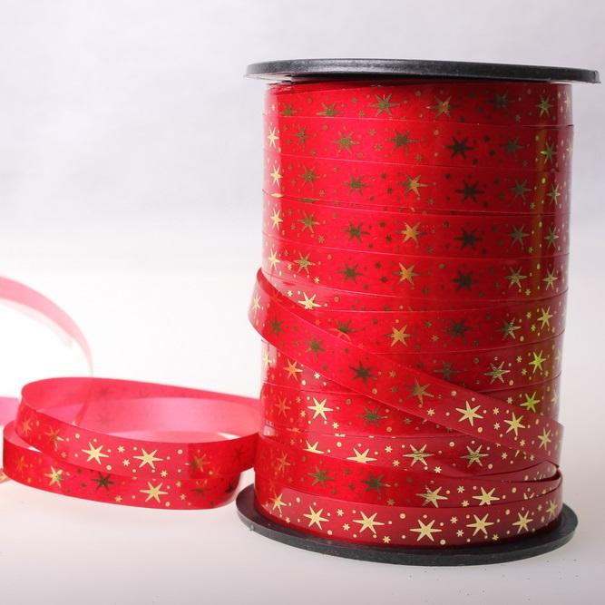 Подарочная Декоративная Лента с золотой полосой (1см на 100у) Звёздочки - Красная